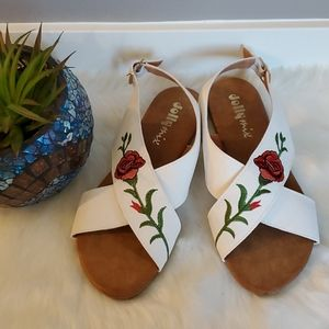 Beautiful rose embroidered sandals